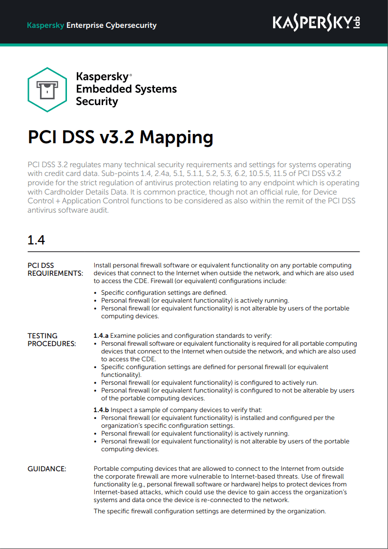 Kaspersky Embedded Systems Security: PCI DSS v3.2 Mapping